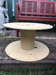 große Kabeltrommel Tisch rund Holz