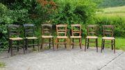 Holzstühle mit Binsengeflecht 7 Stück