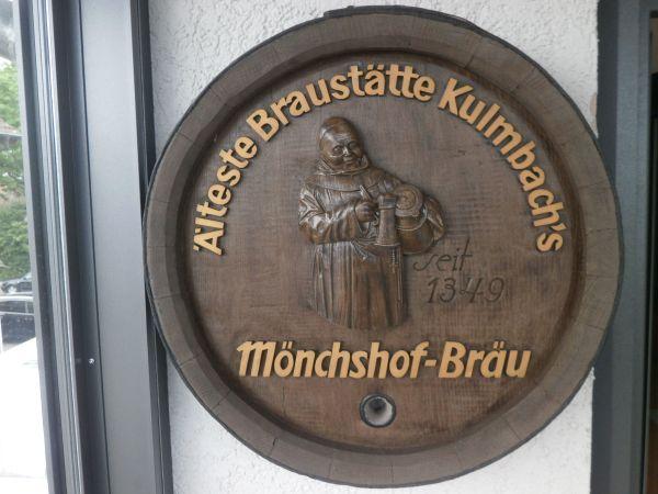 Fassboden mit Bierwerbung von Kulmbacher