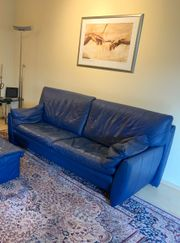 Echtleder Leder Couch Natuzzi blau