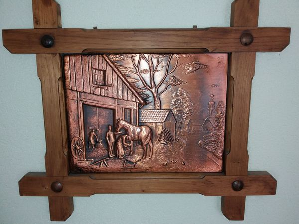 2 dekorative Kupferbilder mit Holzrahmen