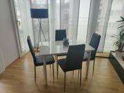 Hochglanz Esstisch 4 Lederstühle