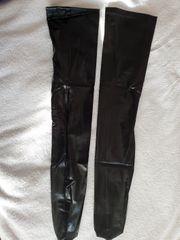 Sexy Strümpfe aus Fauxleder schwarz