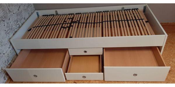 Einzelbett 90x200 weiß mit Schubladen