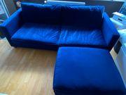 Design Sofa mit Hocker dunkel