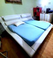 Doppelbett Design Bett Weiß Kunst-Leder