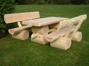 Massive Holzgarnitur Sitzgruppe Gartengarnitur Rustikal