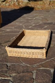 Flacher stabiler Weidenkorb - Antik
