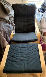 Ikea Sessel mit Hocker schwarz