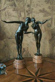 2 Skulpturen Tänzerin Art Deco