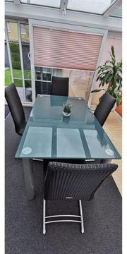 Esszimmertisch Glastisch mit 4 Sühlen