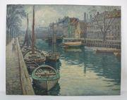 Antikes Ölgemälde Fischerboote im Hafen