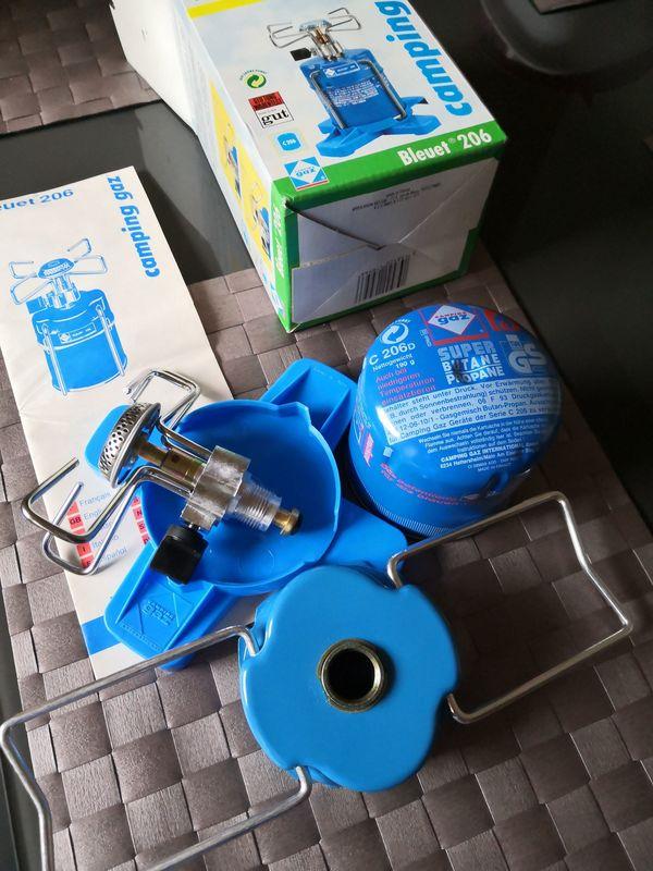 Camping gaz Bleuet 206 Gaskocher (Bj.ca.Anfg.90er) mit 1 x Gaskartusche (orgn.Preisschilld 2,50 DM)