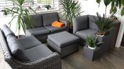 Sitzgruppe Lounge Couch Polstergruppe Rattan