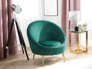 Sessel Samtstoff smaragdgrün LANGA neu -