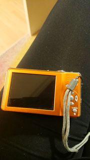lumix kamera klein orange mit