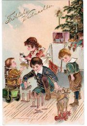 Fröhliche Weihnachten Postkarte Litho Goldrelief