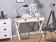Schreibtisch weiß heller Holzfarbton 103