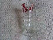 Vintage - Vase - Glas mit rotem