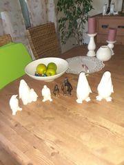 deko Porzellan 7 x Pinguine