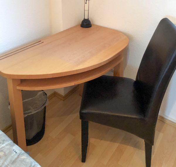 Schreibtisch halbrund Buche mit Stuhl