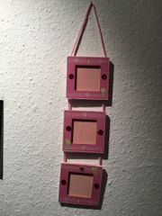 Bilderrahmen aus Holz rosa Deko