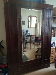 Jugendstil Kleiderschrank Mahagoni Holz Spiegel
