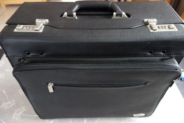 Pilotenkoffer Aktenkoffer schwarz 43 cm