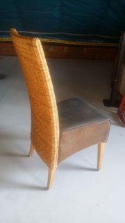 Stühle Rattan Leder 6er Set