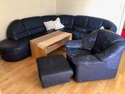 große Couchgruppe blaues Leder