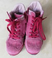 Lederstiefeletten Lederstiefel in pink Gr