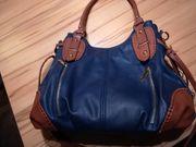 Damenhandtasche blau braun