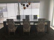 6 Esszimmerstühle 2 Barhocker Bezugstoff -