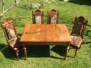 Stilvoller antiker Esstisch mit Stühlen - GRÜNDERZEIT