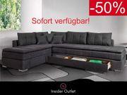 Ecksofa Dauer-Schlaffunktion 180x200cm Bettkasten Grau
