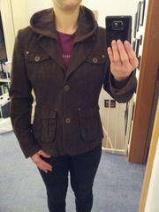 braune Jacke mit Kapuze Größe
