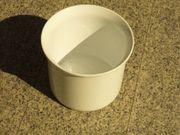 2 Keramik-Übertöpfe weiß Form zylindrisch