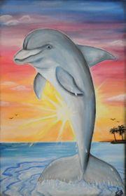 Selbst gemaltes Delfin-Gemälde