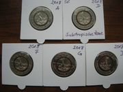 5 mal 5 Euro Gedenkmünzen