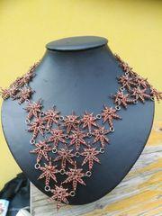Unikat Hanfblätter Halskette Länge 58cm