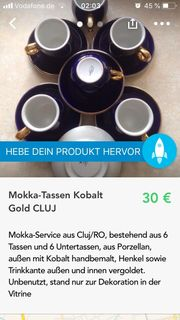 Mokka Tassen Gold CLUJ