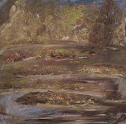 Gemälde Seerosenteich schöne Landschaft Wandbild