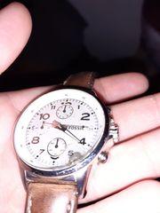 Fossil Uhr braun Silber Datum
