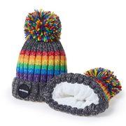 Regenbogen Bommel Mütze grau rainbow