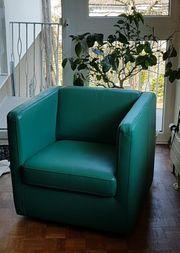 Drehsessel Leder grün-gebraucht-