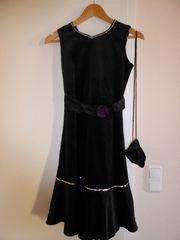 hübsches elegantes Trägerkleid Samt schwarz