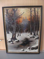 Gemälde Winterlandschaft von H Kemnitz
