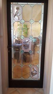Glasscheibe mit Bleiverglasung für Tür