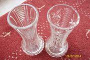 2 Blumenvasen Bleikristall handgeschliffen 20