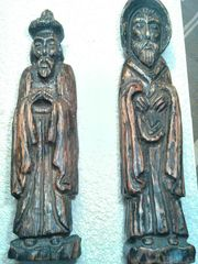 2 hölzerne sehr alte Holzskulpturen